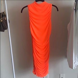 Neon Oranges Ruched Fitted Dress